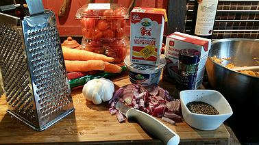 Ingredienser vegetarian pasta