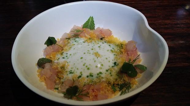 La degustation trout egg buttemilk
